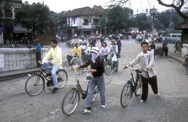 Traffic in the center of Hanoi Vietnam