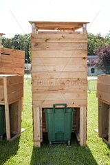 Temporary pit toilets at a music festival France
