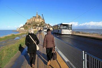 Les travaux d'accès au Mont-Saint-Michel France