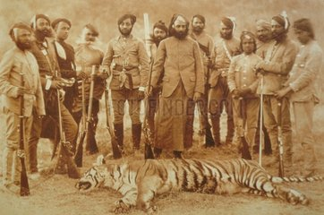 Old photograph of Tiger hunting in India