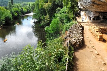 Canoeing on Vezere river and cave house Perigord France