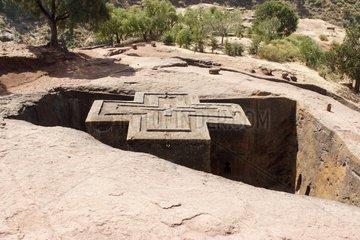 Bete Giyorgis Church rock Saint-Georges LalibelaEthiopia