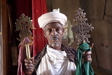 Orthodox priest during the celebration of Timkat Lalibela Ethiopia