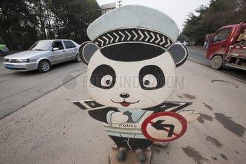 Sign of a policeman Giant Panda China