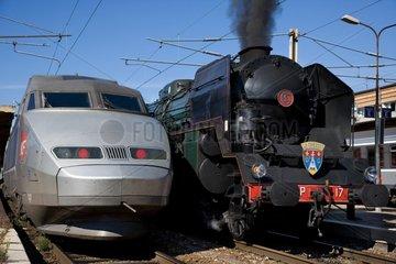 Steam Locomotive 241 P and Motor TGV France