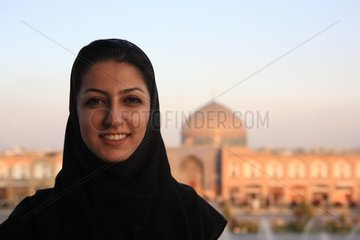 Veiled young woman to the place of the Imam in Isfahan