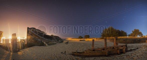 Boats cimetery of Margouer at night Bretagne France