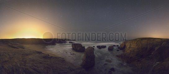 Wild Coast of Quiberon peninsula at night Bretagne France