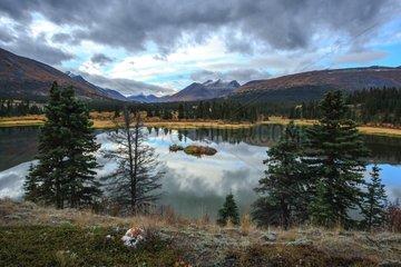 Lake and tundra in autumn Yukon Canada