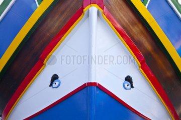 Phoenician eye on fishing boat Gozo Malta