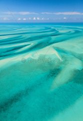 Aerial view of the lagoon of Eleuthera island in the Bahamas