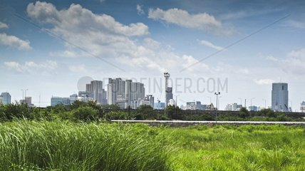 Buildings in Bangkok Thailand saw the train