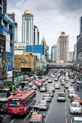 Road traffic in Bangkok Thailand