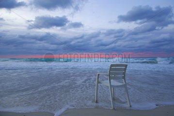 Chair on a deserted beach in Varadero Cuba
