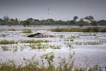 House under water during floods Thailand