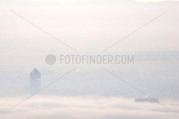Stratus winter on Part Dieu tower Lyon France