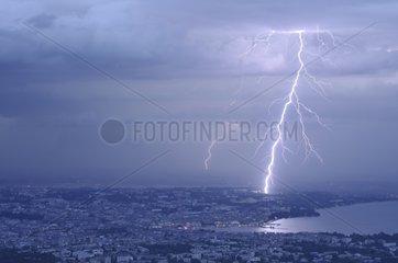 Lightning near United Nations Office at Geneva Switzerland