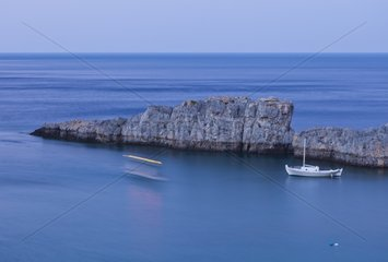 Boats in the Bay of St Paul on Rhodes Island in Greece