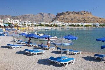 Beach and Pheraklos Castle on Rhodes Island in Greece