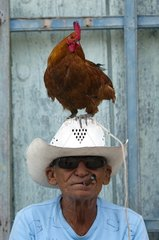 Rooster on the hat of a man smoking a cigar Trinidad Cuba