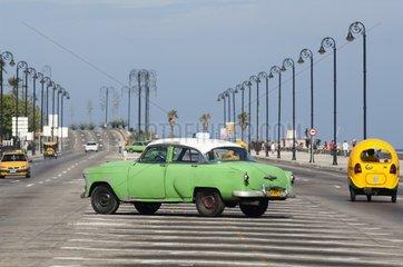 Old American car on the Malecon in Havana Cuba