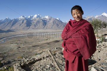 Monk of the monastery Karcha Zanskar Ladakh Himalaya India