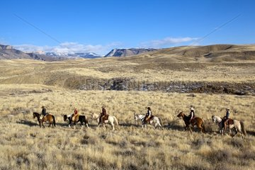 Cowboys in the prairie The Hideout Guest Ranch Wyoming USA
