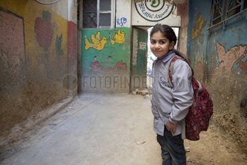 Girl in front of a kindergarten Camp Sabra and Shatila