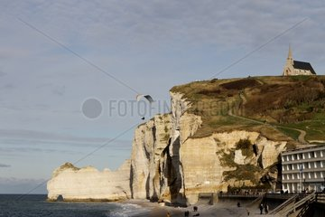 Paragliding over the Cliffs of Etretat Normandy France