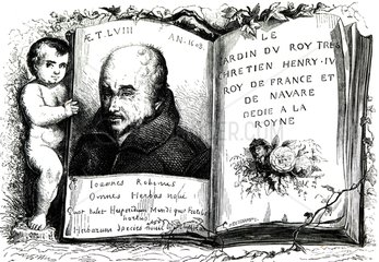 Engraving of the botanist Jean Robin (1550-1629)