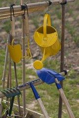 Gardening toys in a garden