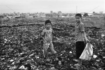 Boys on discharge Phnom Penh Cambodia