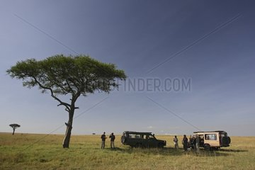 Lunch break during a safari in the savannah Masai Mara Kenya