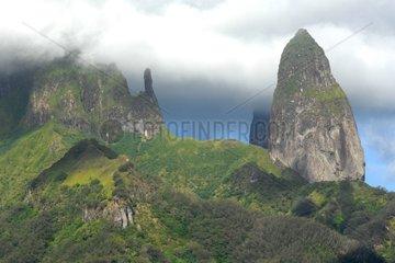 Basalt columns of the island of Ua Pou Marquesas Polynesia