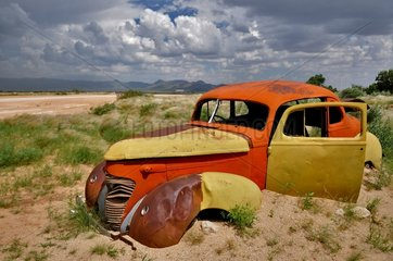 Car of the 1950s in the Namib Desert Namibia
