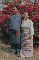 Couple teachers Tibetan traditional dress