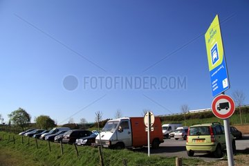 Carpooling area along the highway A 84 France