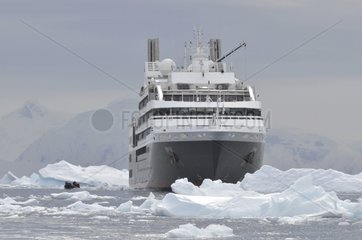 Cruise ship in Antarctic ice