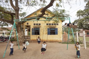 Schoolchildren in the playground of a school in Cambodia