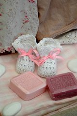 Birth Announcement with slippers and soaps