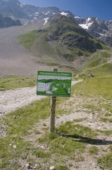Information board for visitors to the Alps France