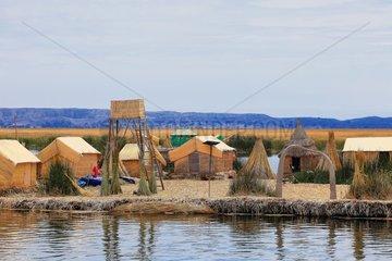 Uros floating islands made of reeds - Lake Titicaca Peru