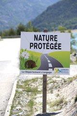 Information panel roadside - Lake of Serre-Ponçon France