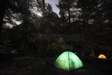 Camping in the Japanese Alps in the fall of Japan