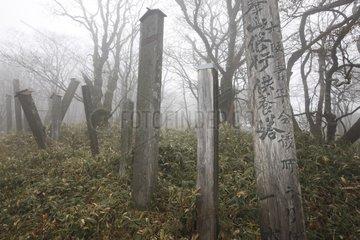 Stele near the temple Omine San atop Sanjogatake Japan
