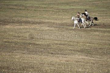 Riders galloping on Barbe stallions breeding