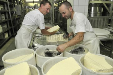 Making cheese Morbier AOC France