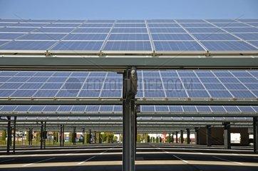 Solar panels on parking Peugeot Citroen France
