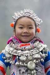 Gejia girl in traditional clothes - Guizhou China