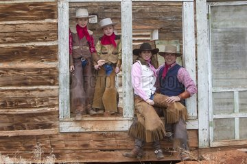 Family cowboys in Wyoming USA